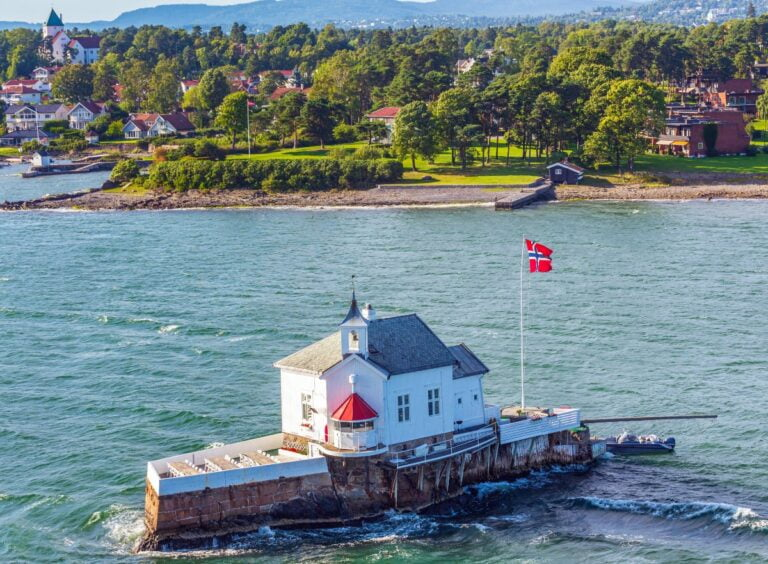 Aerial photo of the Dyna lighthouse in Norway's Oslofjord