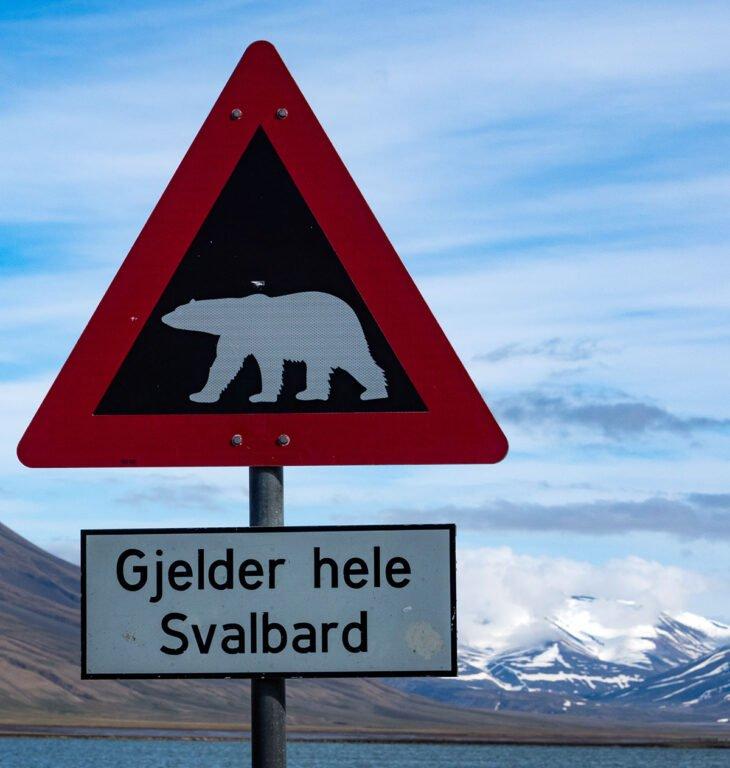 Famous polar bear sign on Svalbard
