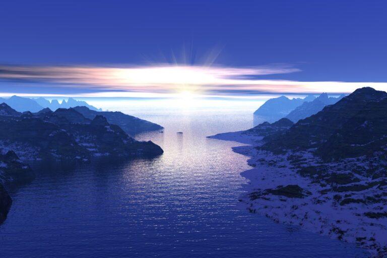 Purple sunrise in Norway's fjords