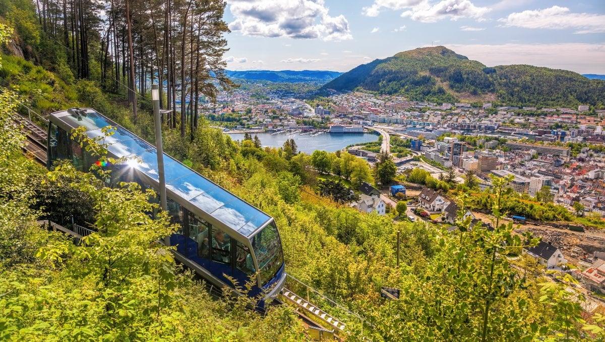 Bergen's Fløibanen funicular railway on the hillside