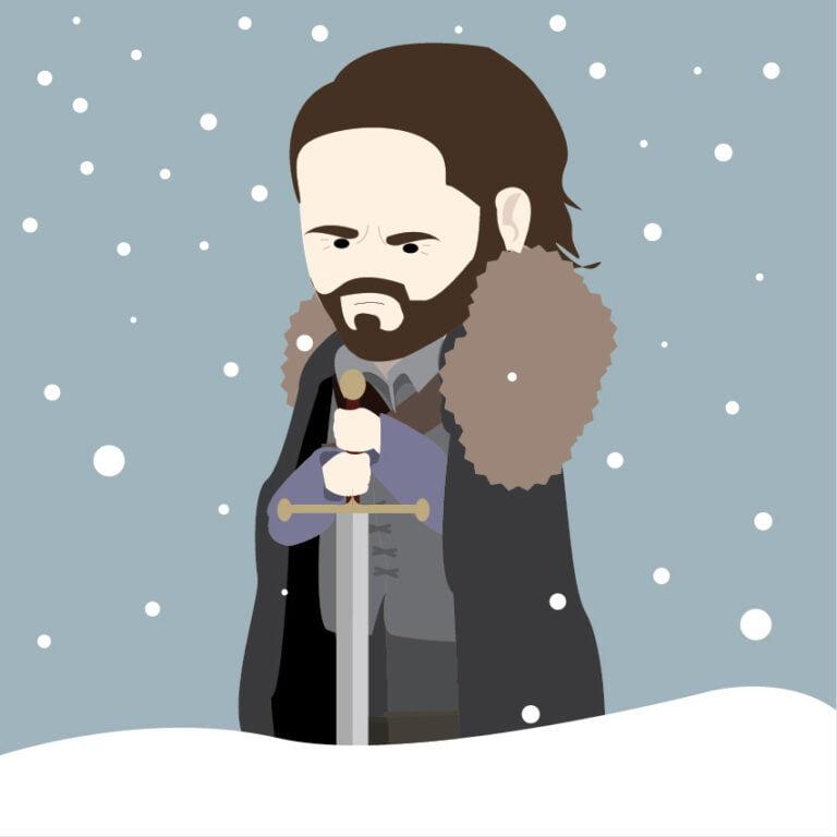 Game of Thrones Jon Snow cartoon.