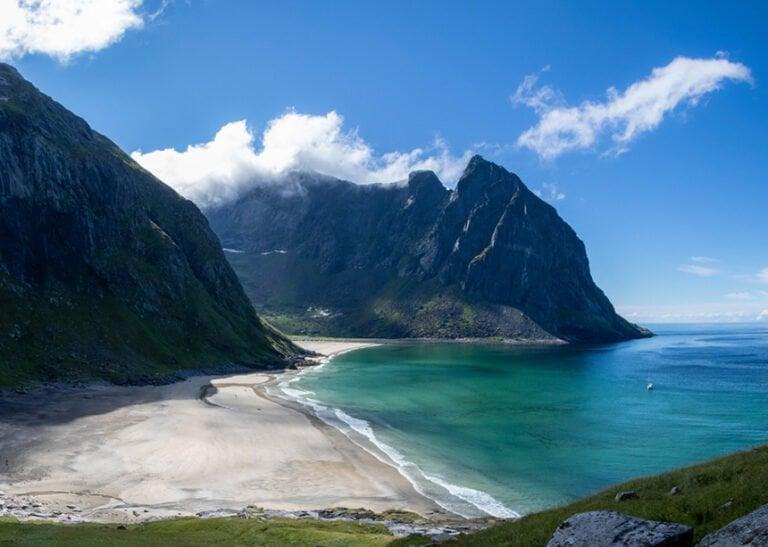 Kvalvika beach in the Lofoten Islands of Norway