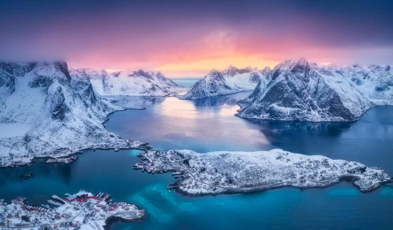 Winter view of Reine in Lofoten