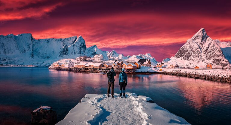 Lofoten islands photo with a red sky