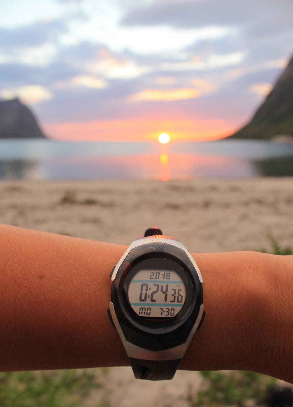 Midnight sun wristwatch in Norway