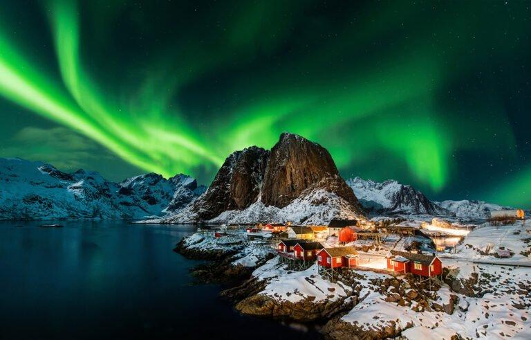 Northern lights display above Hamnøy island in Northern Norway