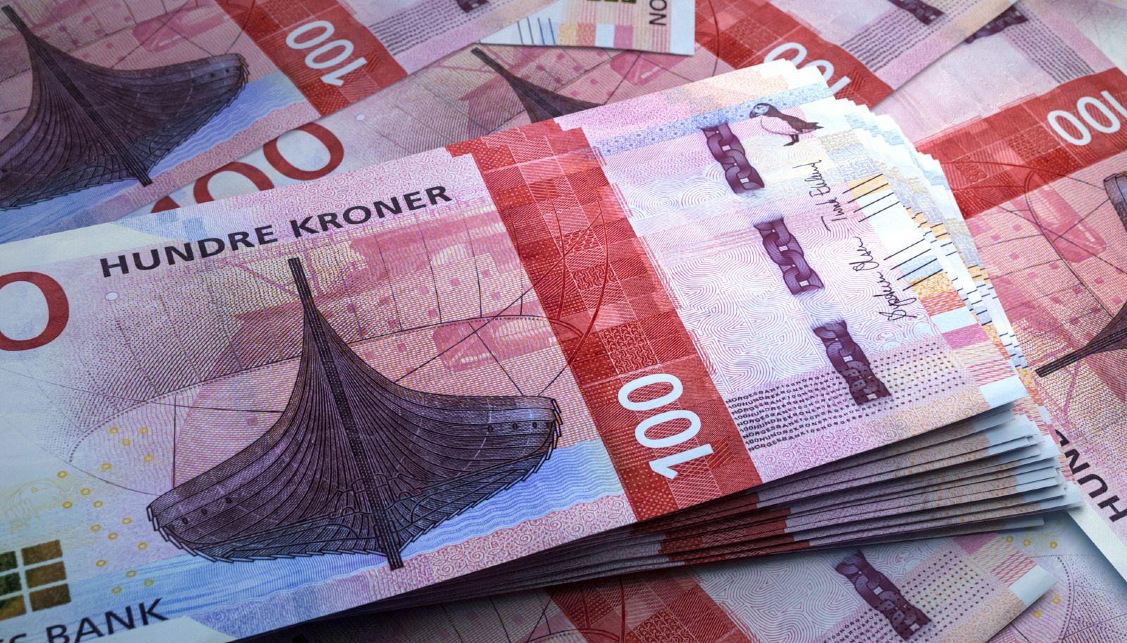 Norwegian banknotes close-up