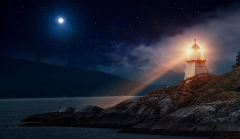 A lighthouse in Norway at night