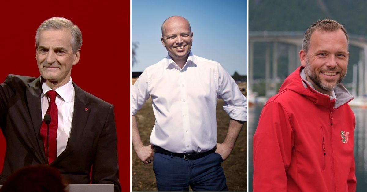 Jonas Gahr Støre (Ap), Trygve Slagsvold Vedum (Sp), Audun Lysbakken (SV)