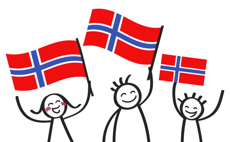 Norwegian family with flags of Norway cartoon