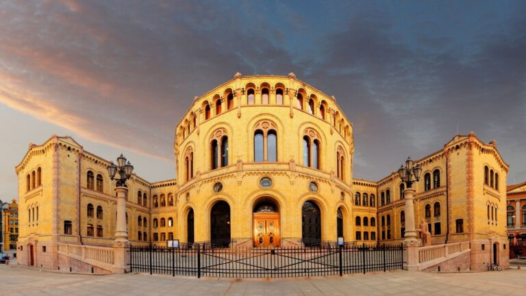 Norwegian parliament in the evening light of Oslo, Norway