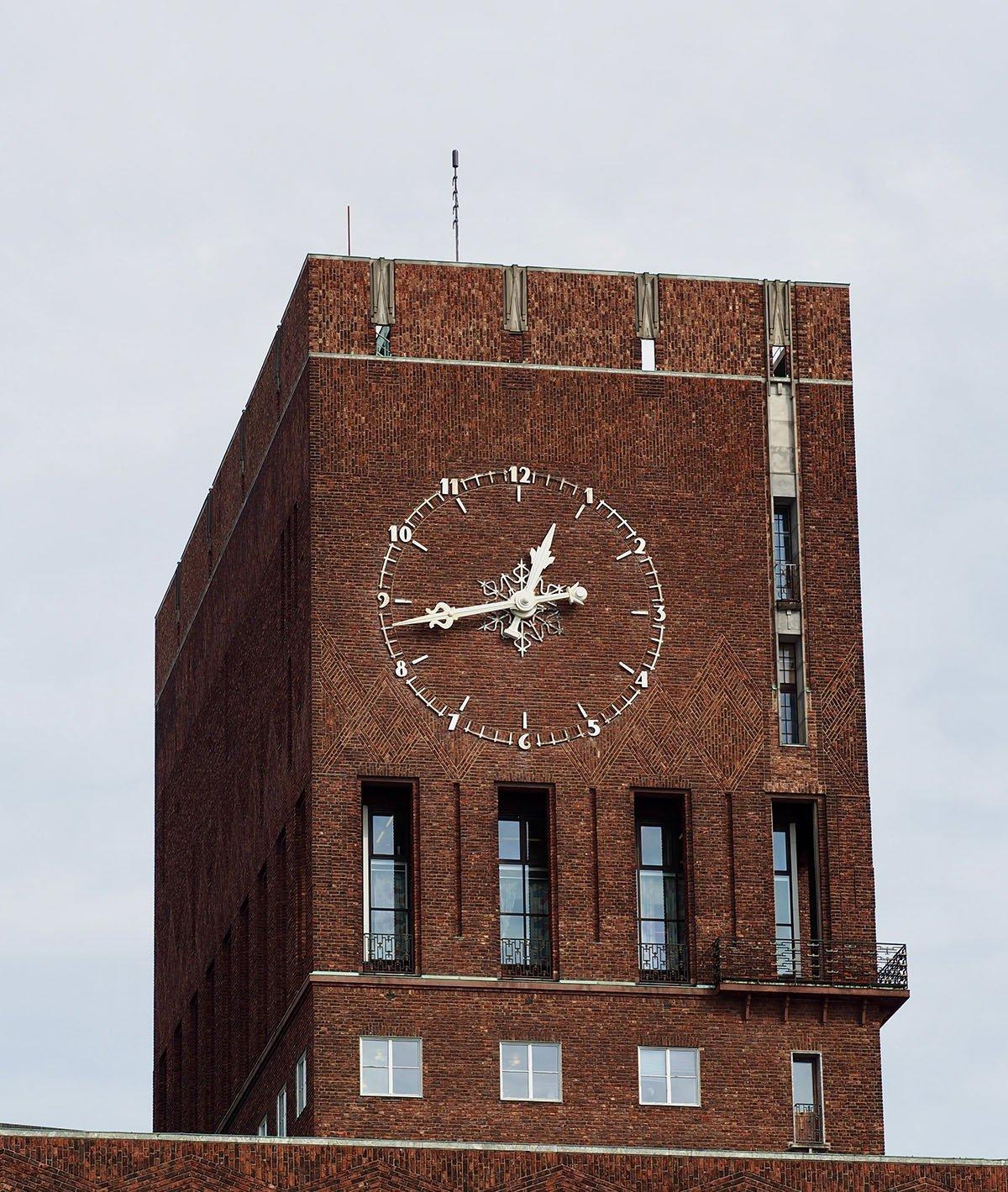 Clock tower at Oslo city hall