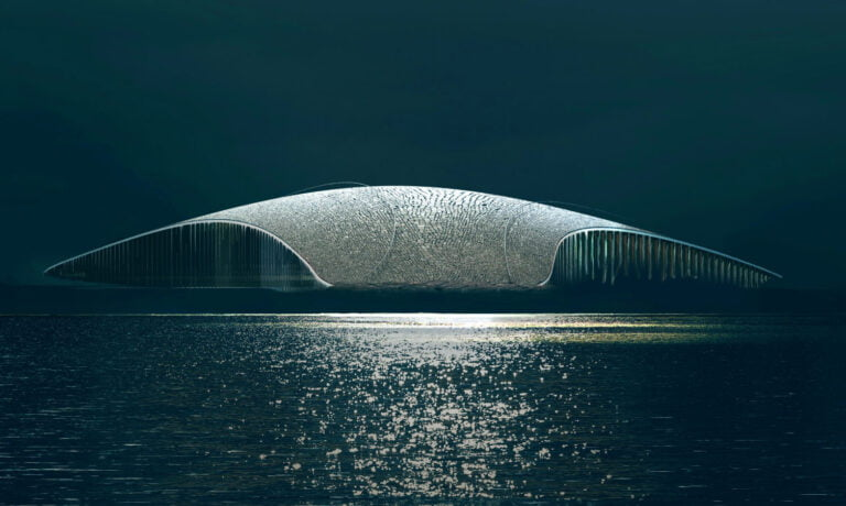Render of The Whale at night.