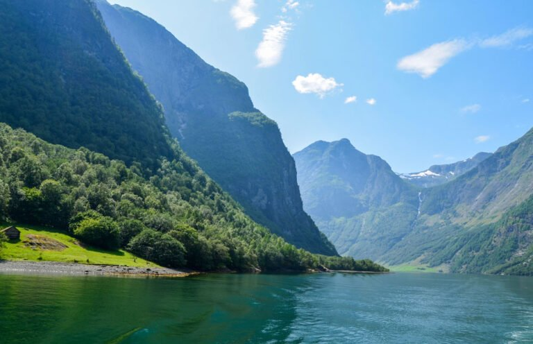 Steep mountains line the Sognefjord