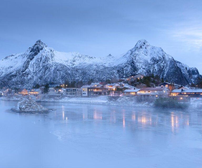 A misty morning scene in Svolvær, Northern Norway