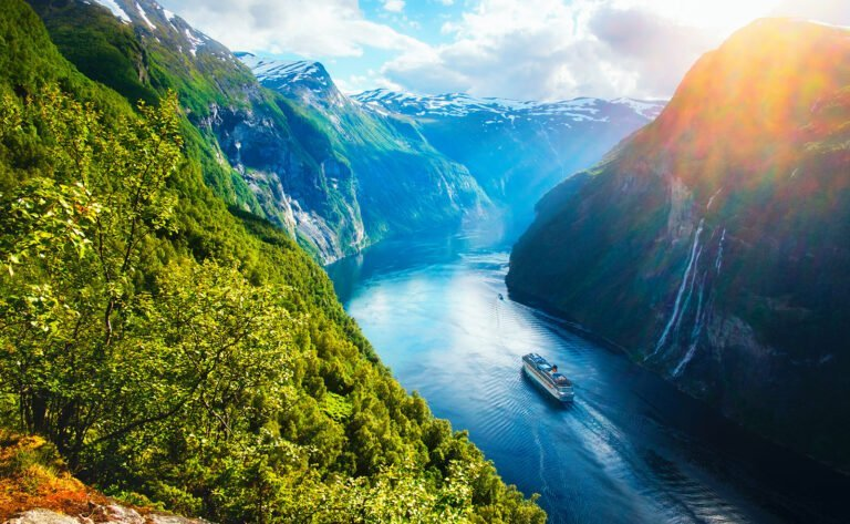 View of the Sunnylvsfjord and Geirangerfjord in Norway