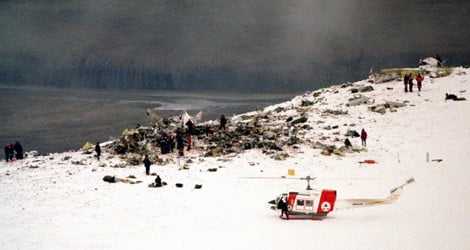 Rescuers at the air crash site on Svalbard
