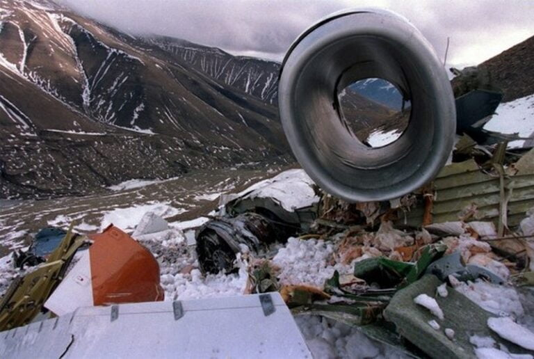 Some wreckage from the Svalbard air crash.