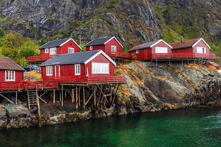 Red rorbuer fisherman's cabins in Å in Lofoten, Norway