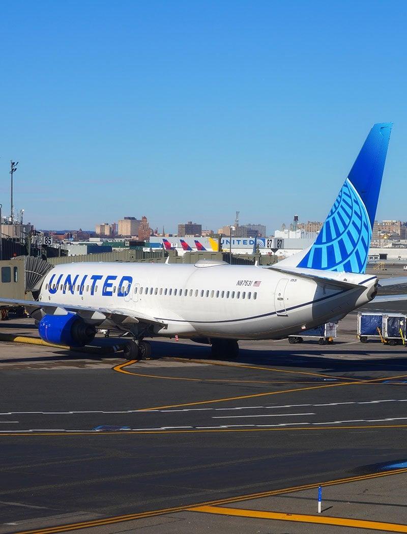 United plane at Newark airport.